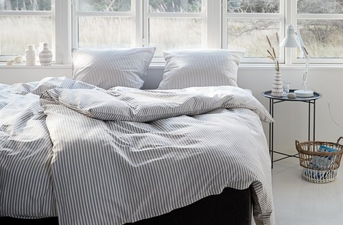Bedding set SUS Yarn dyed SGL white/grey