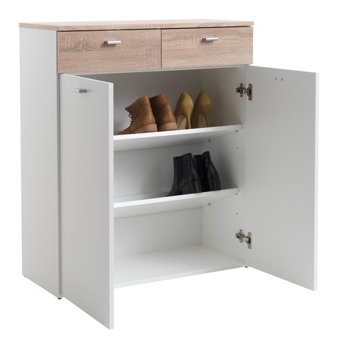 Shoe cabinet BELLE 2 comp. white/oak