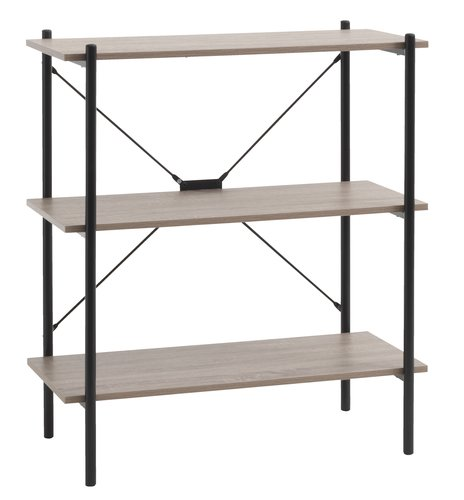 Shelving unit VANDBORG 3 shlv. oak/black