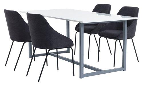 ESBJERG 90x180 vit + 4 NYSTED grå