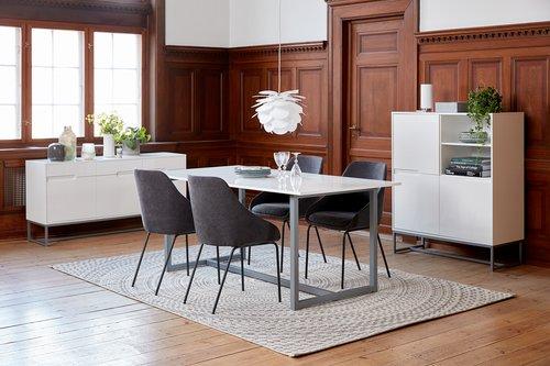 Spisebord ESBJERG 90x180 hvit/sølv