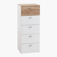 Commode BELLE 5 lades wit/eiken