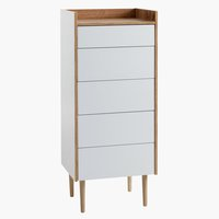 Commode AARUP 5 lades wit/eik