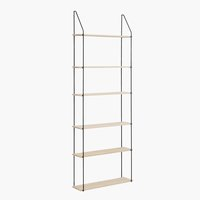 Wall shelf HEJLSMINDE 6 shel. black/nat.