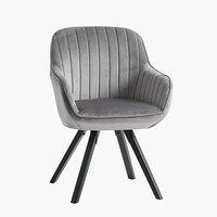 Πολυθρόνα ONSEVIG βελούδο γκρι/μαύρο