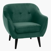 Armchair EGEDAL velvet dark green