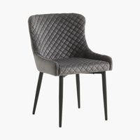Dining chair PEBRINGE velvet grey/black