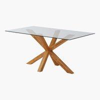 Table SASKIA 90x160 chêne/verre