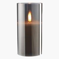 Stumpenkerze KLAUS Ø8xH15cm grau m/LED