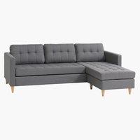 Sofá LOMBORG chaise longue gris