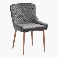 Dining chair PEBRINGE velvet grey/oak