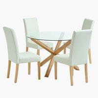 Miza AGERBY Ø119 + 4 stoli TUREBY
