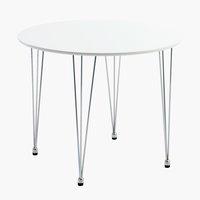 Spisebord BANNERUP Ø90 hvid/krom