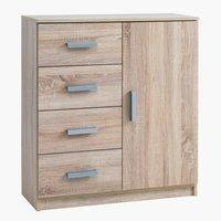 Commode KABDRUP 4 tiroirs 1 porte chêne