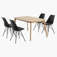 BREDEBRO + 4 tuolia tammi KLARUP musta