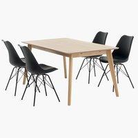 Tafel KALBY + 4 stoelen KLARUP zwart