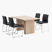 Miza OLSKER + 4 stoli HAMMEL črna