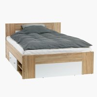 Bed frame FAVRBO DBL oak/white