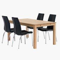Pöytä SILKEBORG P160 + 4 musta HAVNDAL