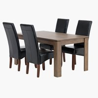 Miza VEDDE d160 + 4 stoli BAKKELY rjava