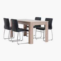 Miza HALLUND D160 hrast + 4 stoli HAMMEL