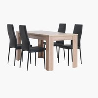 HALLUND L160 oak + 4 TOREBY black