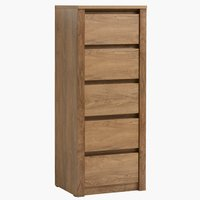 5 drawer chest VEDDE wild oak
