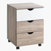 Drawer unit ABBETVED 3 drw oak/white