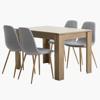 VEDDE L120 w.oak+ 4 JONSTRUP grey/oak