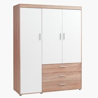 Wardrobe SLAGELSE 3 doors oak/white