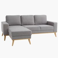 Bank ARENDAL chaise longue licht grijs