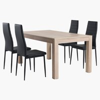 HALLUND L300 oak + 4 UK TOREBY black