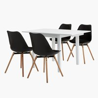 NORDBY L120 white + 4 UK KASTRUP black